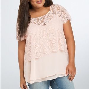 Torrid Pink Blush Lace Crop Top